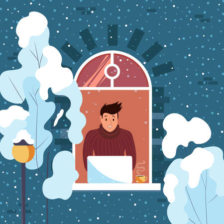 Man working on laptop at home. Freelance guy. Winter outside the window. Cute vector illustration. 向量圖像