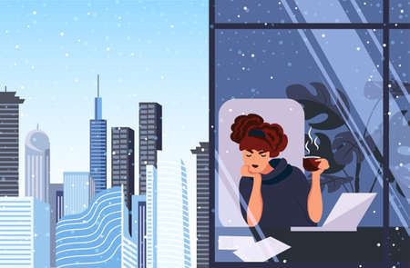 Winter depression, fatigue at work. A young girl is sitting in the office at the computer with a cup of coffee and wants to sleep. Vector illustration Çizim