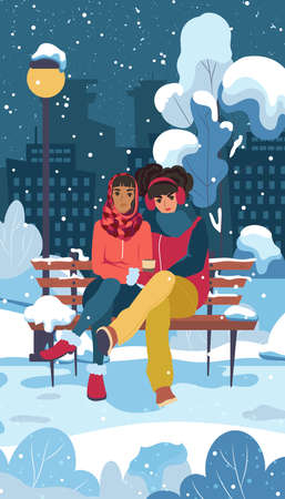 Two girls in a city park are hugging while sitting on a bench in winter. LGBT couple. Female romantic partners. Vector illustration.