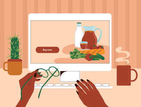 African American black female hands order food online. First-person view of a desk with a computer. Vector illustration