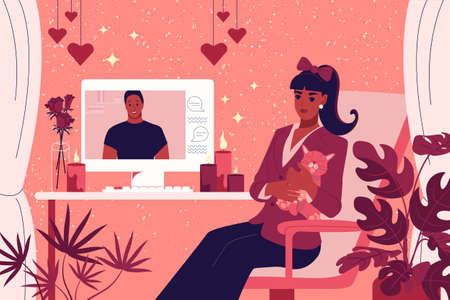 The girl sits at a table in front of a computer monitor. Celebrating Valentine's Day online. The woman communicates with her boyfriend in the chat. Vector illustration