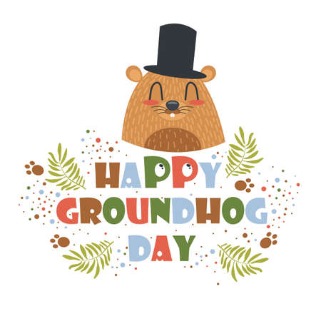 Happy Groundhog Day greeting card, poster, invitation and flyer. Decorative text and little rodent in a top hat. Vector Illustration