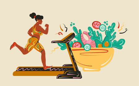 Cardio workouts and regular meals, healthy protein, fats and fresh veggies. Girl on a treadmill. Healthy lifestyle and diet concept. Cartoon vector illustration.
