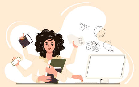 Multitasking woman at work in the office. Businesswoman performs many tasks at the same time at her desk at the computer. Flat vector illustration