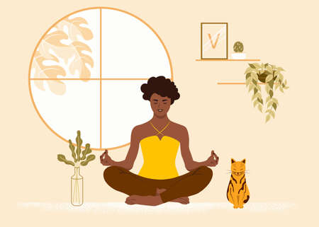 African American girl sits in the lotus position at home with her cat. The woman is engaged in yoga, meditation. Flat vector illustration