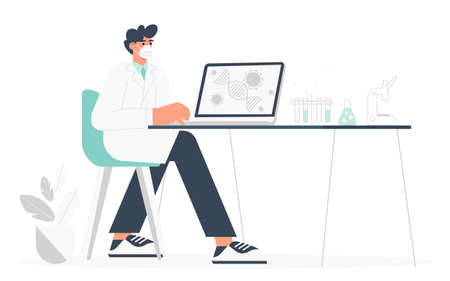 Development of a vaccine. A male scientist sits at a table in the laboratory and analyzes the results of research on vaccination . Flat vector illustration