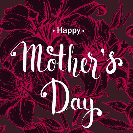 lilium: Happy Mothers day postcard. Hand drawn sketch lilium flowers.
