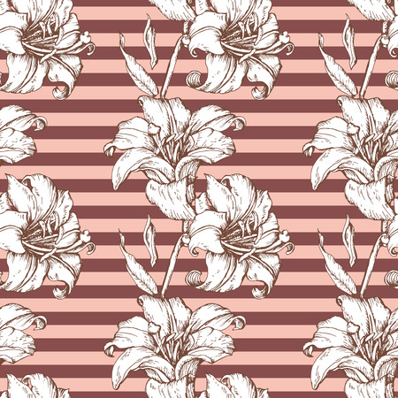 lilium: Beautiful seamless background with lilies hand-drawing. Vector seamless floral pattern.