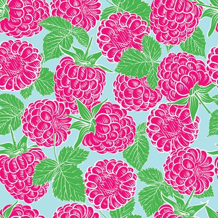 Seamless pattern with raspberries. Vector illustration. Illustration