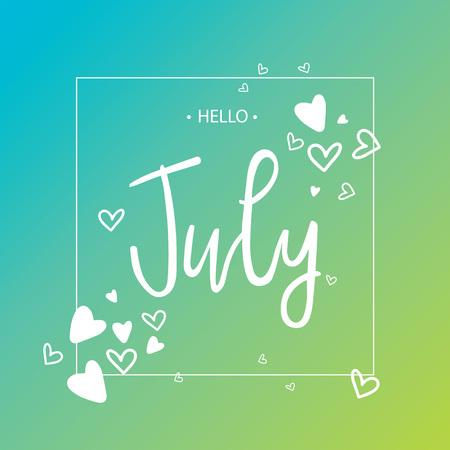 Hallo juli lettertype afdrukken met harten. Vector illustratie Stock Illustratie