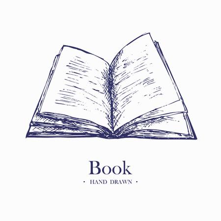 Open boek. Hand getekende schets vector illustratie.