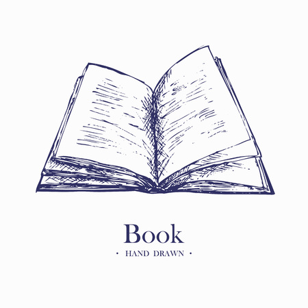 Open Book. Hand Drawn Sketch Vector illustration.