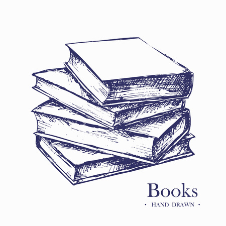 Stack of books, Hand Drawn Sketch Vector illustration. Illustration