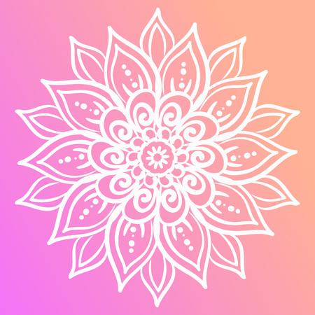 Outline flower mandala. Floral design element.