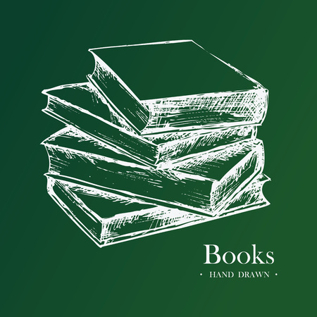 Books, Hand Drawn Sketch Vector illustration.