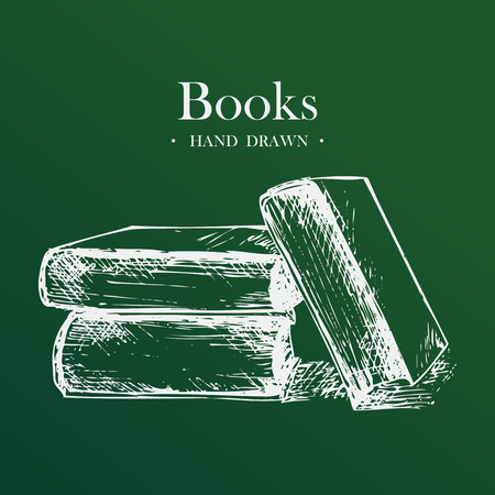 Books, Hand Drawn Sketch Vector illustration.