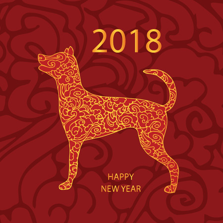 chinese astrology: 2018 Happy New Year greeting card on a red background. Illustration
