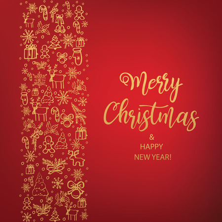 Merry Christmas and Happy New Year. Hand Drawn. Vector illustration. Illustration