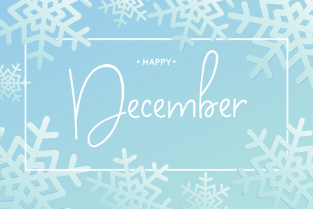 Happy December calligraphy inscription, vector illustration.