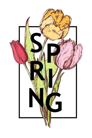 Inscription Spring on background with hand drawn flowers. Vector illustration.