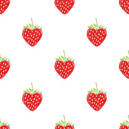 Patrón sin fisuras de fresa, patrón de frutas. Ilustración vectorial