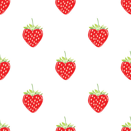 Seamless Pattern of Strawberry, Fruit Pattern. Vector Illustration Иллюстрация