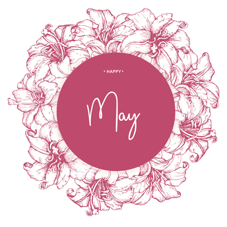 Inscription Happy May on background with hand drawn flowers. Vector illustration.