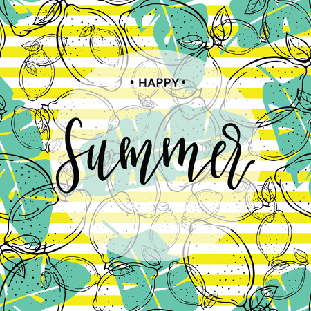 Happy Summer inscription on the background of lemons and leaves. Vector illustration. Hand drawn Illusztráció
