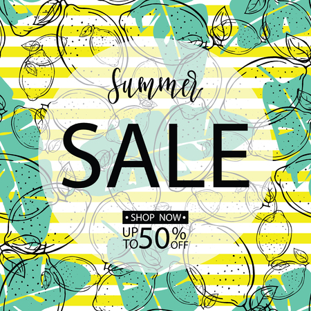 Summer sale background with lemons and leaves . Vector illustration. Hand drawn.