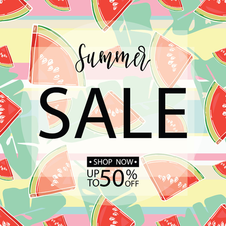 Summer sale background with sliced watermelons. Vector illustration. Hand drawn.