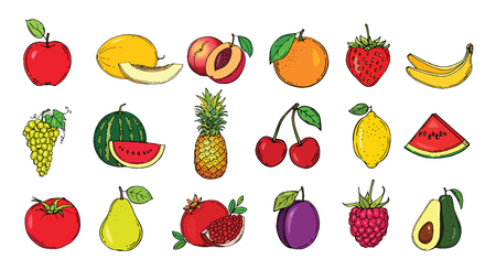Set of fruits. Vector illustration. Hand drawn