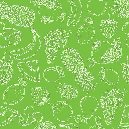 Fruits seamless pattern for your design. Vector illustration. Hand drawn