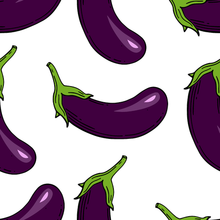 Eggplant seamless pattern. Eggplant for farm market. Vector illustration. Hand drawn