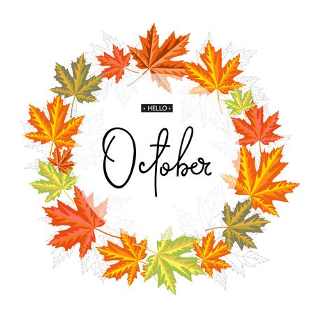 Hello October calligraphy inscription. Autumn banner template. Vector illustration Illusztráció