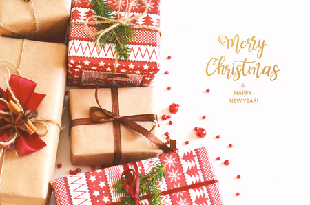 Merry Christmas and Happy New Year. Christmas card for the holiday season. Stock Photo