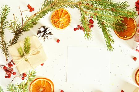Fond de Noël pour la saison des vacances. Vue de dessus avec espace de copie Banque d'images