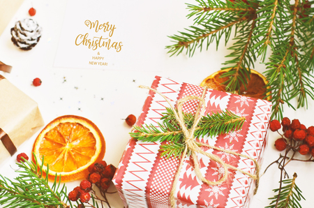 Merry Christmas and Happy New Year. Christmas card for the holiday season. Stok Fotoğraf