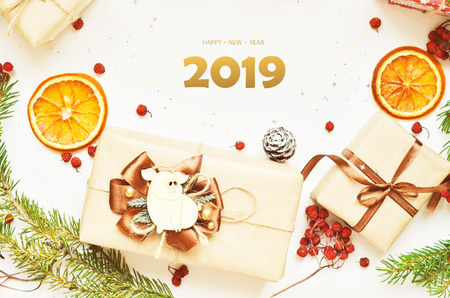 happy new year, 2019.  Year of the pig Stok Fotoğraf