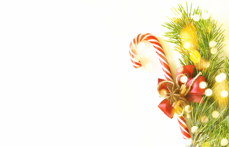 Christmas composition. Flat lay, top view, copy space. Christmas background