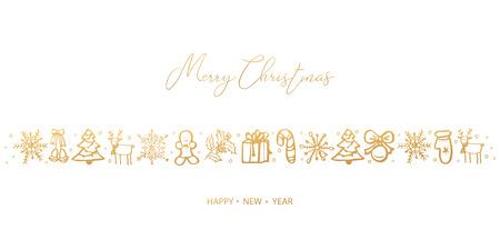 Wesołych Świąt i Szczęśliwego Nowego Roku. Ręcznie rysowane. Ilustracja wektorowa.