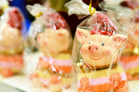 Christmas pigs 2019 in a package. Symbol of the year pig