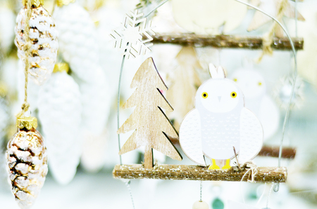 Greeting card with Christmas owl on branch and Christmas elements Stock Photo