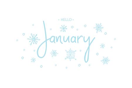 Happy January calligraphy inscription.  Vector illustration