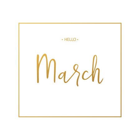 Hello March lettering print. Springtime. Vector illustration.
