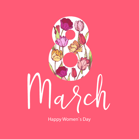 8 March. Happy Womens Mothers Day. Floral Greeting Card. Hand Drawn. Vector illustration