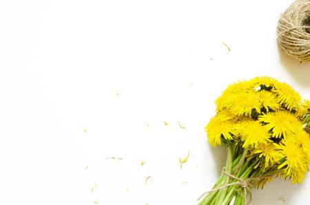 Bouquet of dandelions on white background. Top wiev. - Image Reklamní fotografie