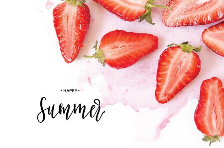 Inscription Happy Summer. Creative fresh strawberries pattern background. - Image