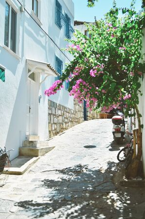 Traditional aegean architecture; narrow streets of Bodrum Old town, Turkey. - Image Фото со стока