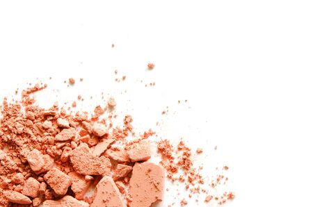 Coral eyeshadow and blush isolated on white background. - Image