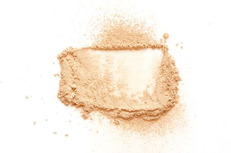 Beige crashed face powder for makeup as sample of cosmetic product, isolated on white background - Image